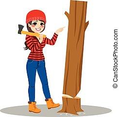 Female Lumberjack Tree Easy Concept
