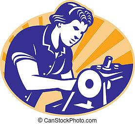 Female Machinist Seamstress Worker Sewing Machine -...