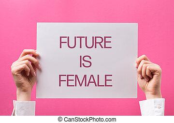 female., mains, avenir, texte, femme, tenue, affiche