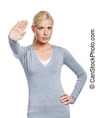 Female making stop gesture