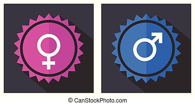 Female male gender symbol pink and blue vector icons