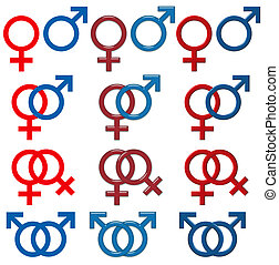 Female & Male Symbol (isolated white background) - set 3D effects