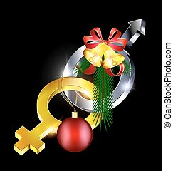 female-male with Christmas