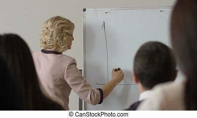 Female manager drawing sales chart on whiteboard -...