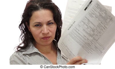 Female Manager Mad With Papers - A female manager with a mad...