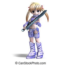 female manga paladin with huge sword. 3D rendering with...