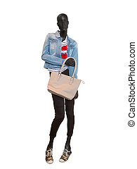 Female mannequin dressed in casual clothes