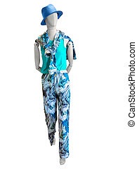 Female mannequin dressed in summer clothes.