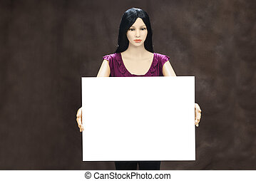 Female Mannequin With Blank Sign and Copy Space