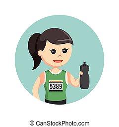 female marathon runner holding water bottle in circle background