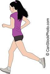 female marathon runner illustration