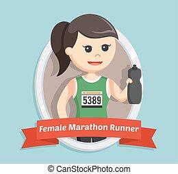 female marathon runner in emblem