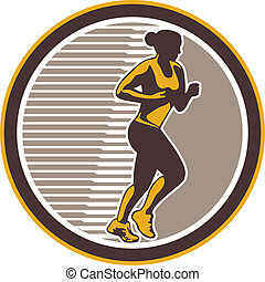 Female Marathon Runner Side View Retro