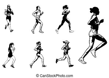 female marathon runners sketch illustration