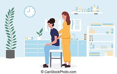 Female masseuse giving a woman a relaxing body massage in a massage parlour or spa in a health and wellness concept, colored vector illustration