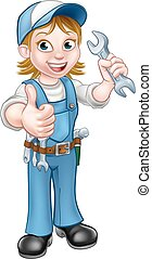 Female Mechanic or Plumber with Spanner - A plumber or...