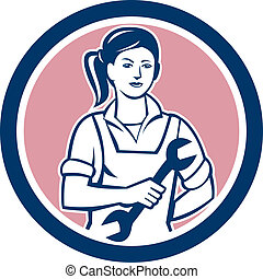 Female Mechanic Spanner Circle Retro