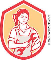 Female Mechanic Spanner Shield Retro - Illustration of a ...