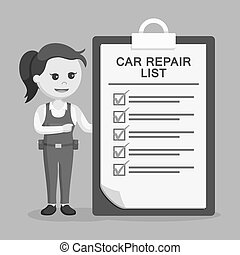 Female mechanic with repair list clipboard