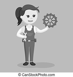Female mechanic with wrench and gear