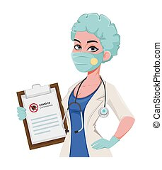 Female medical doctor in protective workwear
