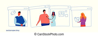 female medical doctor with stethoscope checking male patient breath medical worker in uniform healthcare concept sketch flow style portrait horizontal