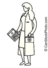 female medicine worker with medical order and kit