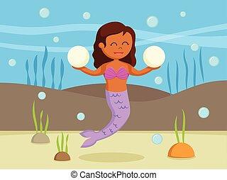 Female mermaid holding two big pearl