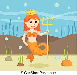 female mermaid with crown and spear