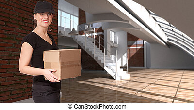 Female messenger in a loft