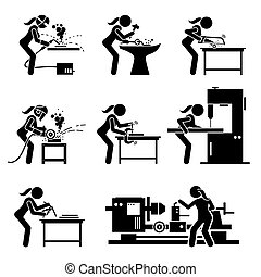 Female metal worker making iron craft with industrial tools and equipment stick figure icons.