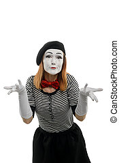 Female mime is confused. Vertical portrait, isolated on white