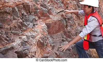Female Mining Prospector Rock Chipp