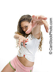female model in dancing pose against white background