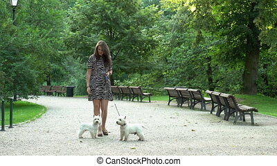 Female model in dress have walk with pair of white doggies in park. Static shot