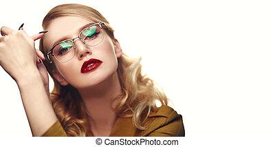 female model in glasses