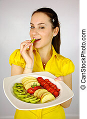Female model with plate with fruit
