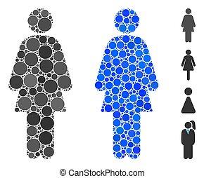 Female Mosaic Icon of Circles