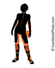 Female Motorcycle Rider Art Illustration Silhouette