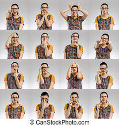 Multiple portraits of the same woman making diferent expressions