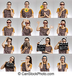 Multiple portraits of the same woman making different activities