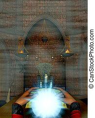 Female mystic. - Female mystic sitting looking into a...
