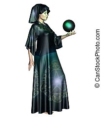 Female Mystic - Female mystic in robes with arcane symbols...