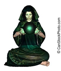 Female Mystic with Crystal Ball - Female mystic in robes...