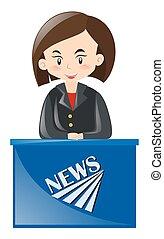 Female news reporter reporting news illustration
