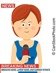 Female news reporter - woman journalist as a live...