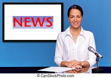 A female newsreader presenting the news, add your own text or image to the screen behind her.
