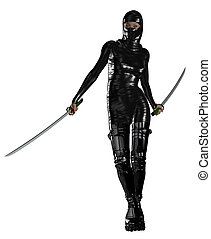 Female Ninja - Female ninja holding two swords