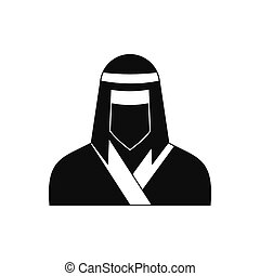 Female ninja in mask black simple icon