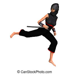 Female Ninja on White